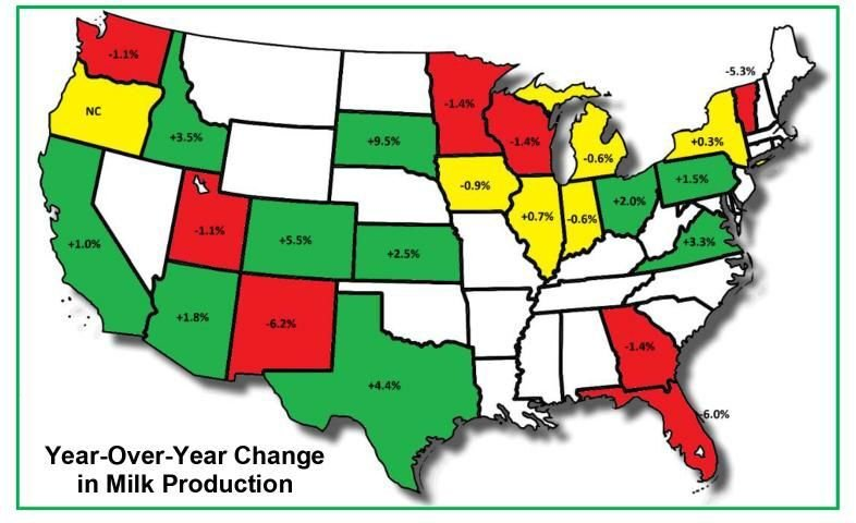 Change in Milk Production map