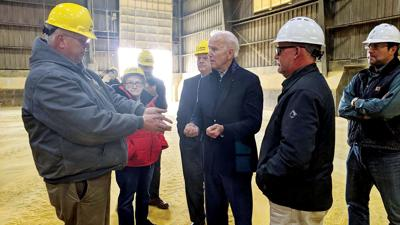 Democratic presidential candidate Joe Biden visits an ethanol plant near Dyersville, Iowa