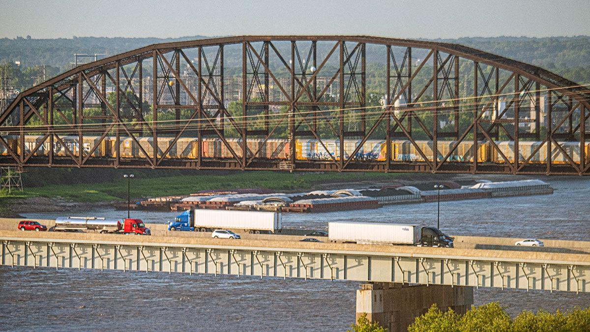 Barge traffic near St. Louis, Missouri on the Mississippi River