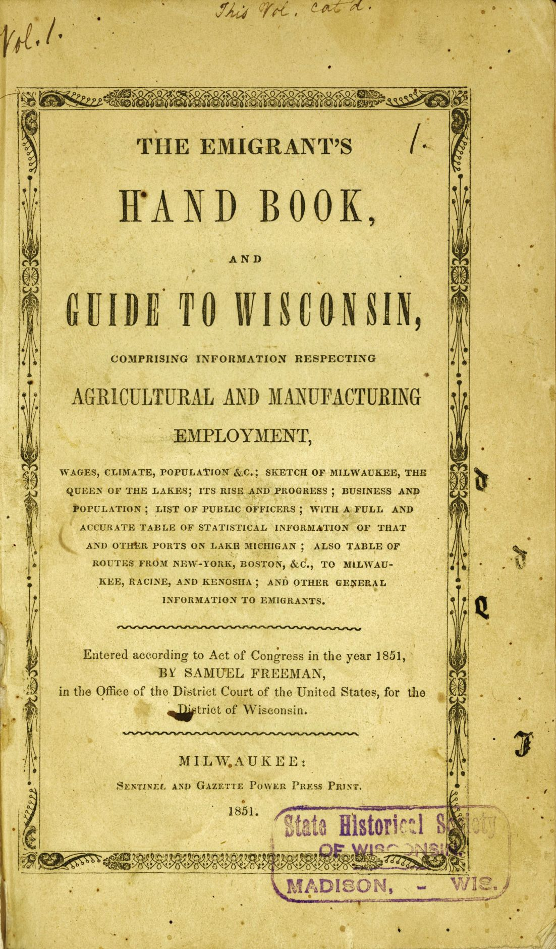 Emigrant's Hand Book and Guide to Wisconsin