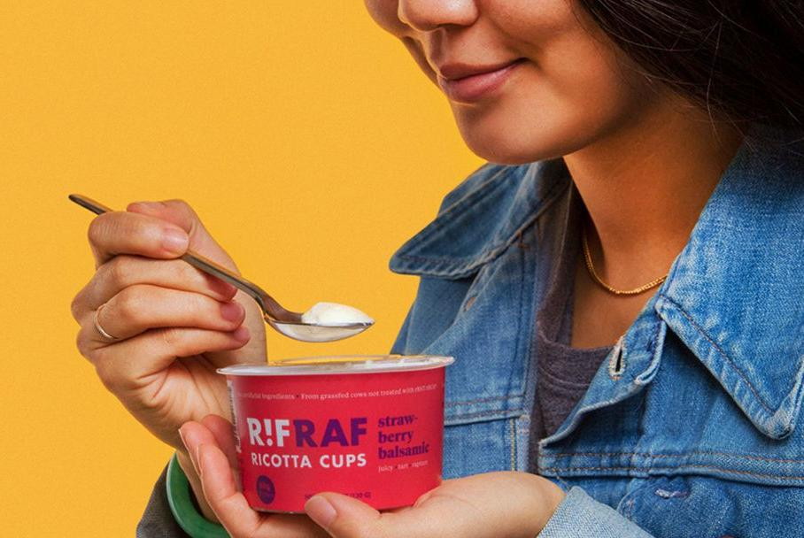 Woman with RifRaf ricotta cup