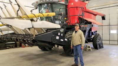 Dave Guthrie with combine