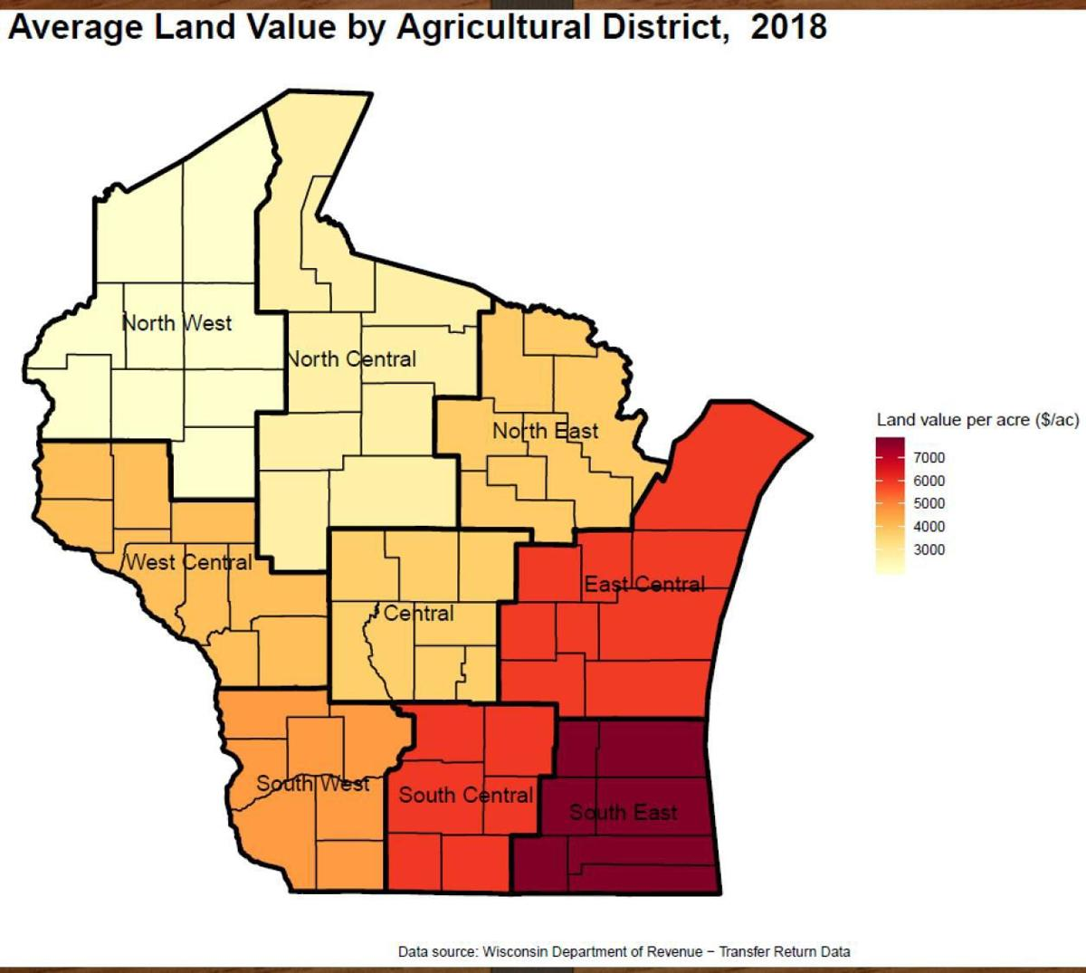 Average land value in Wisconsin