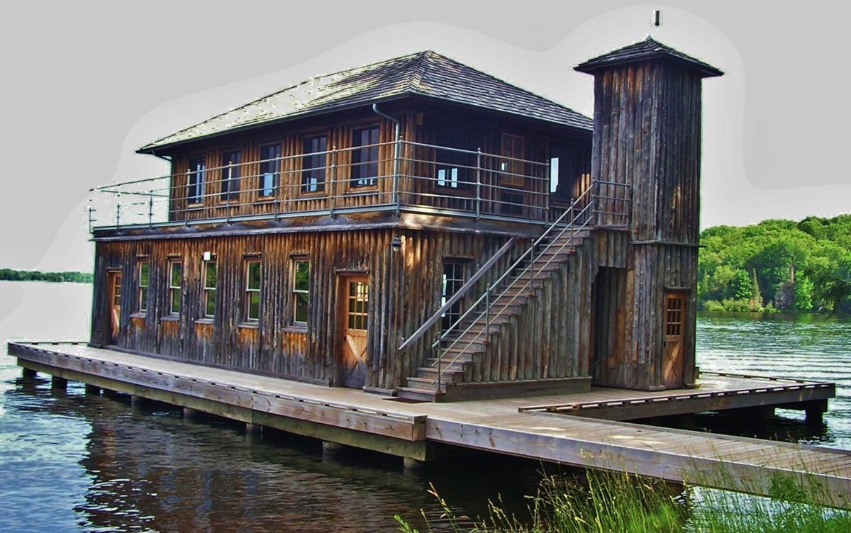 Two-story boathouse at Forest Lodge