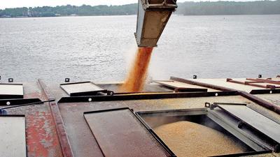 Grain Export barge filling corn