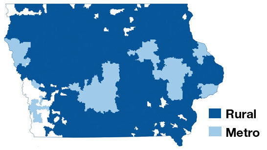 Iowa telehealth capabilities map