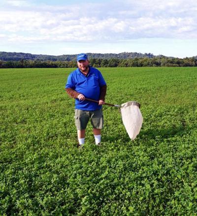 Tim Boerner with net in alfalfa field
