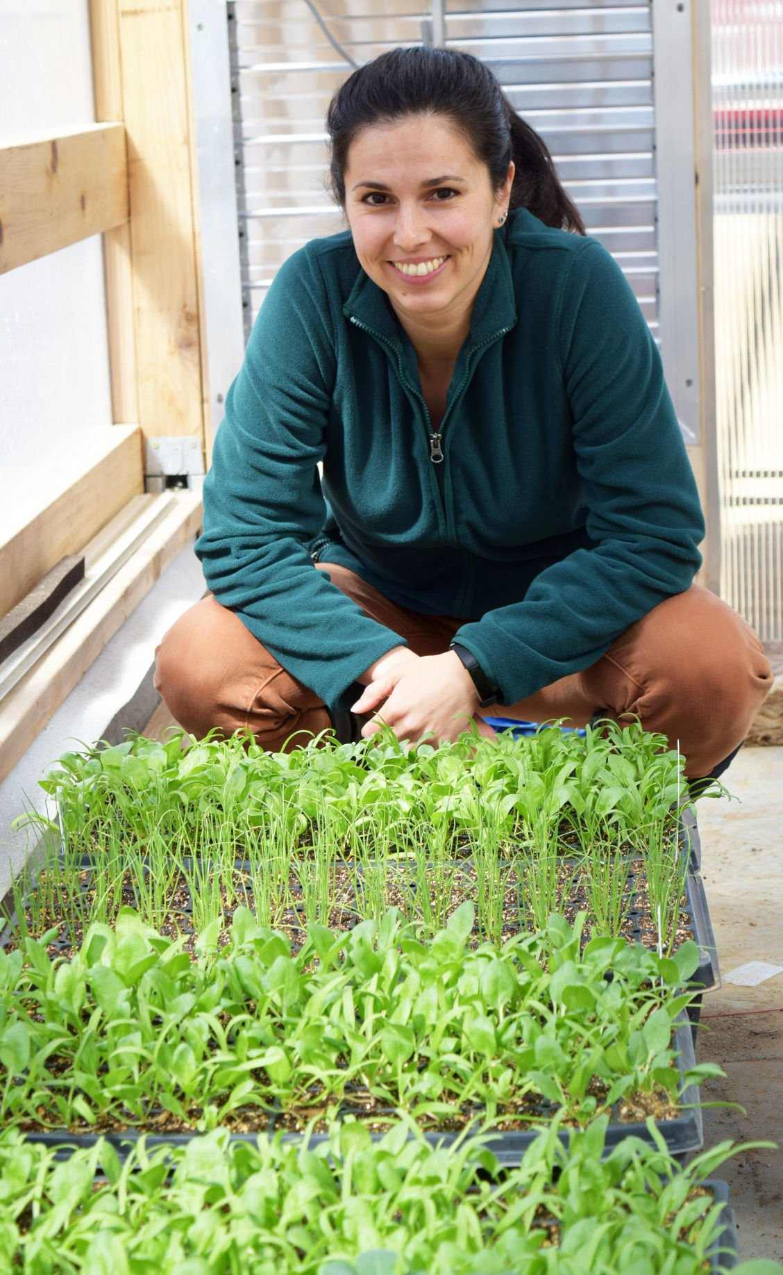 Chelsea Chandler with vegetable seedlings