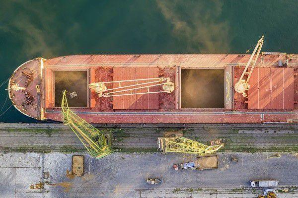 Docked ship loaded in port