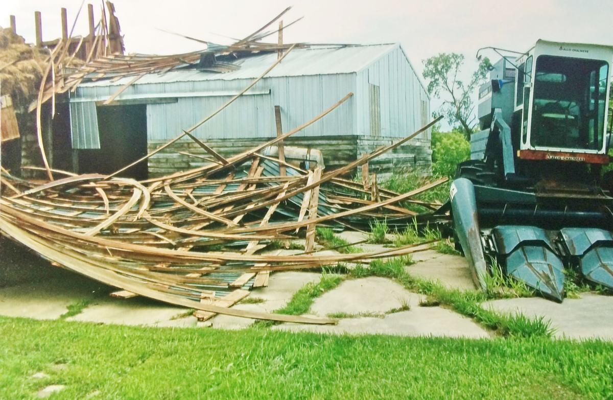 Hay loft destroyed