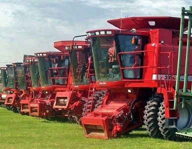 Machinery stand in a row