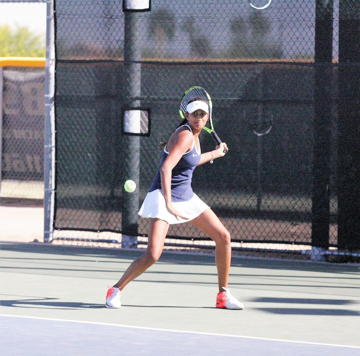 Desert Vista freshman Rinoma Rouf has stepped into the No. 1 slot for the Thunder tennis team.