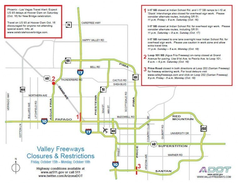 Weekend Closures & Restrictions on Valley Freeways, October 15 - 18, 2010