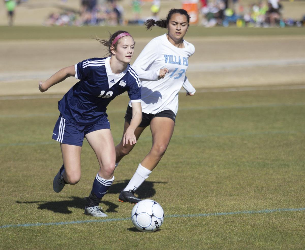 Claire Caviolo hustles after the ball during Desert Vista's game with Red Mountain.