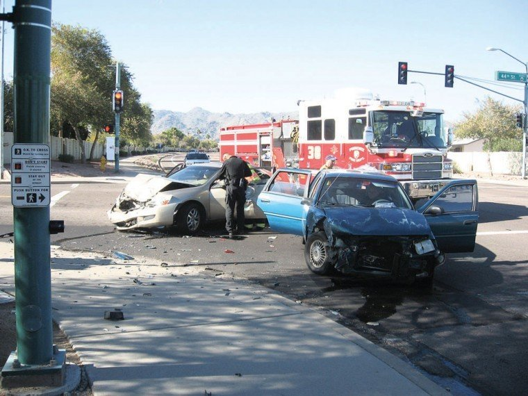 A head-on collision at 44th Street and Warner Road
