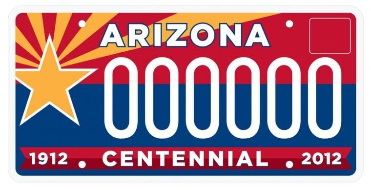 Arizona centennial license plate