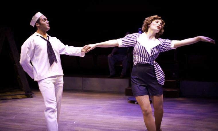 """Emily Evans and Vinny Chavez perform in Hale Theatre's """"Dames at Sea"""""""