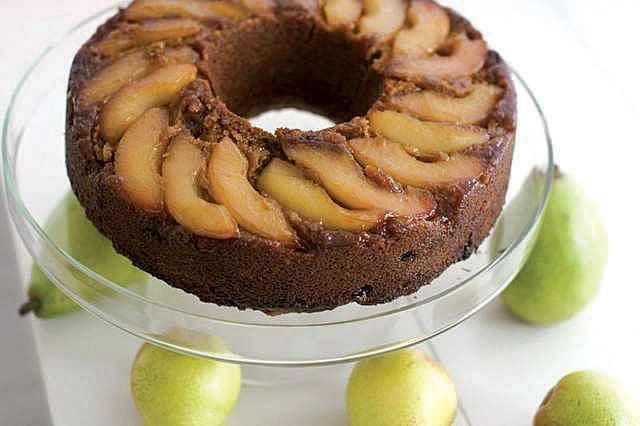 Lemon pear upside-down gingerbread cake