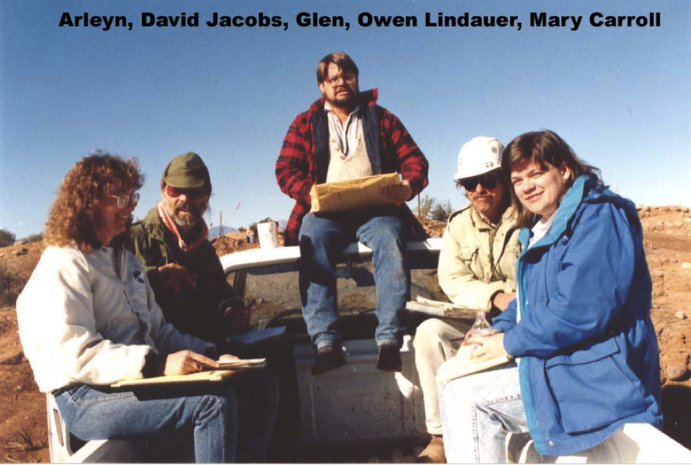 Out on a dig, Ahwatukee archaeologist Glen Rice, center, is flanked by, from left, a woman identified only as Arelyn, David Jacobs, Owen Lindauer and Mary Carroll.
