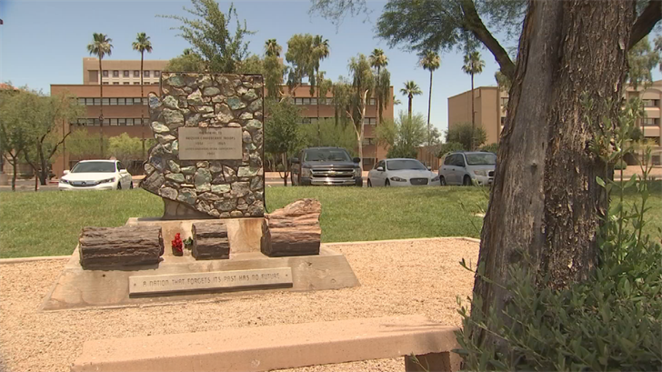 The memorial to Confederate soldiers that sits across the street from the Arizona state Capitol