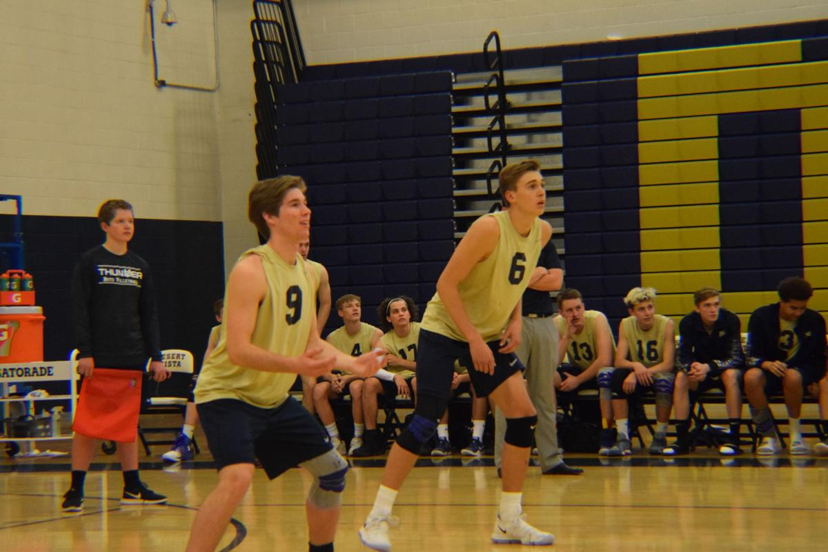 Nick Heeres, left, and Landon Fuller have become a dynamic duo on the Desert Vista boys volleyball team.