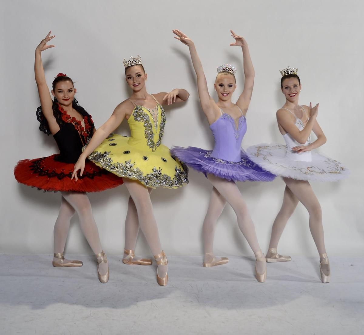 Four Ahwatukee high school seniors will be taking their final bows in the Ahwatukee Nutcracker next month. They include, from left: Madi Nash as Spanish Queen, Olivia Nash as Butterfly Queen, Jordan Torgerson as the Sugar Plum Fairy and Morgan Zittel as the Angel Queen.