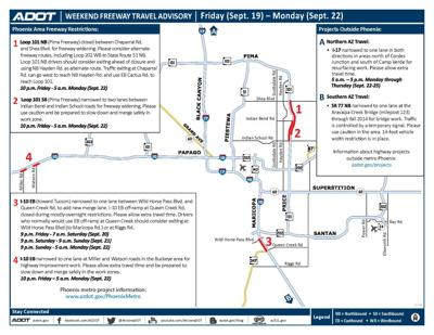Weekend freeway travel map