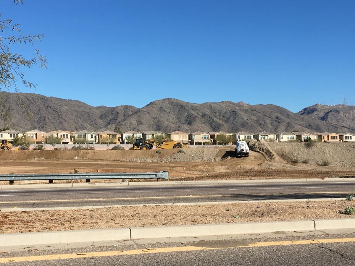 The interim roadway is being built to allow Pecos Road traffic to continue while the freeway is under construction.