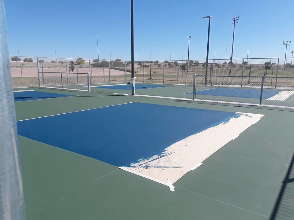 The 16 pickleball courts at Pecos Park keep taking shape, as this photo from several weeks ago shows. A grand opening is scheduled for 10 a.m. April 21 and organizers say as many as 400 to 500 enthusiasts may be attending.