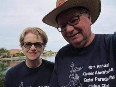Mike Schmitt, the Ahwatukee Kiwanis Easter Parade boss, and his wife Bonnie