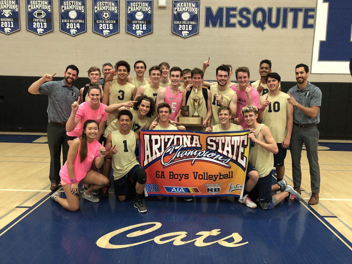 The Desert Vista High School boys volleyball team