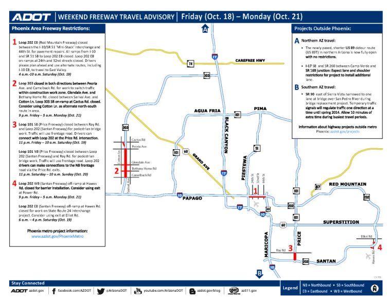 Weekend freeway travel advisory Oct. 18-21