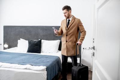 Businessman in the hotel room