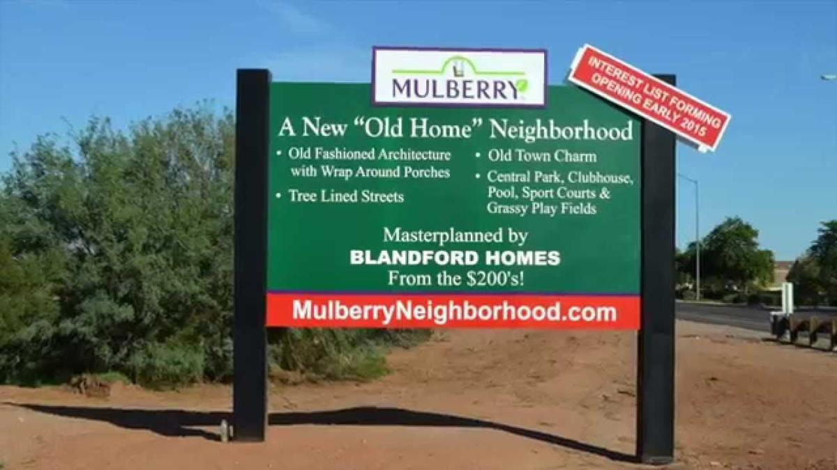 Even before houses were built, signs like this generated huge interest in the Mulberry neighborhood  in Mesa that was developed by the same homebuilder that locked up a 63-acre site in Ahwatukee owner by the Tempe Union High School District.