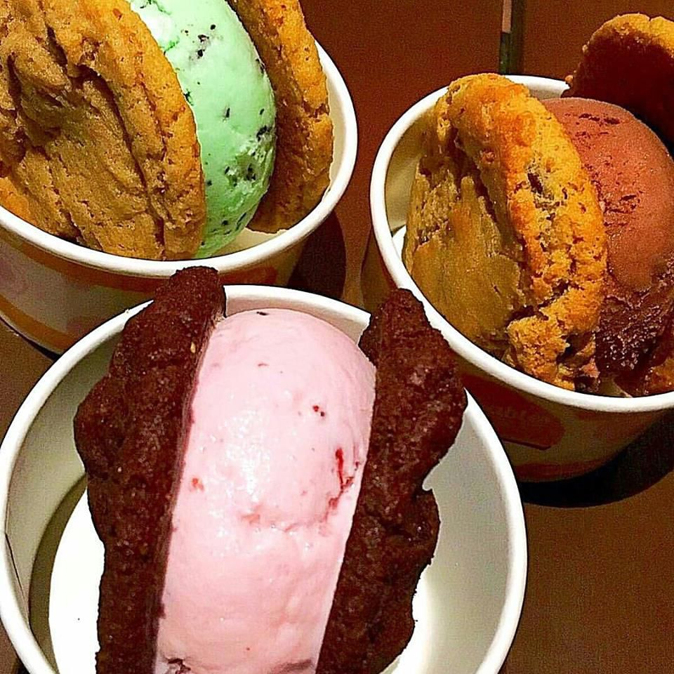A scoop of ice cream between two fresh-baked cookies is delicious and convenient at Slickables