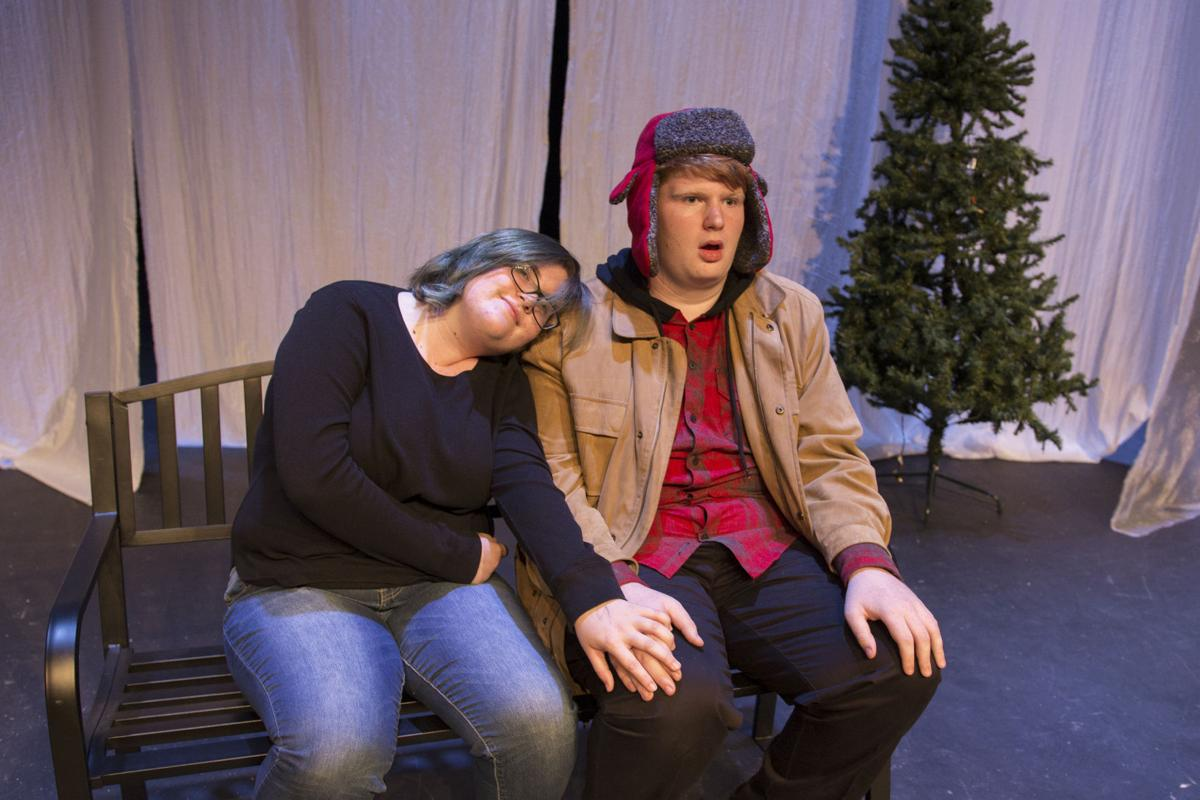 """Rhianon Malloy, playing """"Ginette"""", and Ethan Bryant as """"Pete"""" rehearse a scene from """"Almost Maine."""""""