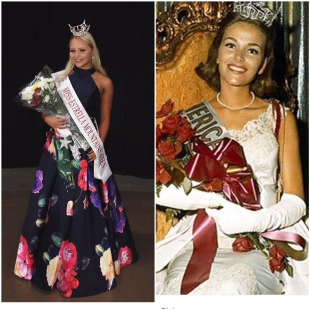 Desert Vista High freshman Anna Alber, left, accepts a bouquet after being named  Miss Arizona Outstanding Teen. Her grandmother, Deborah Bryant Berge, is shown on  the right becoming Miss America in 1966.
