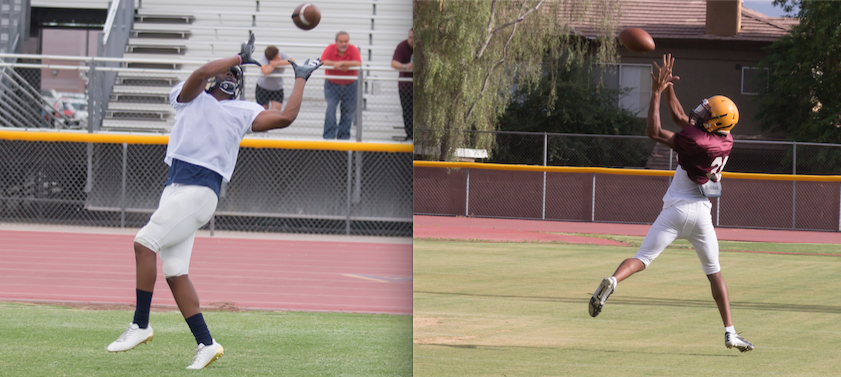 Mountain Pointe High School varsity wide receiver and defensive back Lacirea Pleasant-Johnson(left) and Caleb Humphrey(right), a linebacker and free safety for Desert Vista High