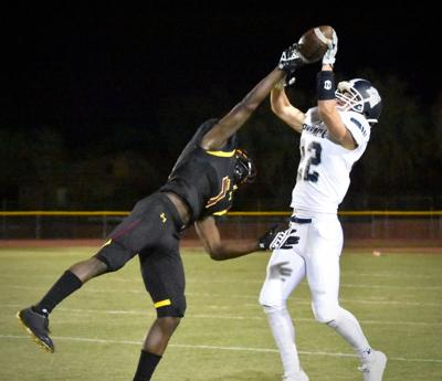 Mountain Pointe's Marshawn Gibson breaks up a pass intended for Pinnacle's Jack Jepson with about 3:05 left in the third quarter.