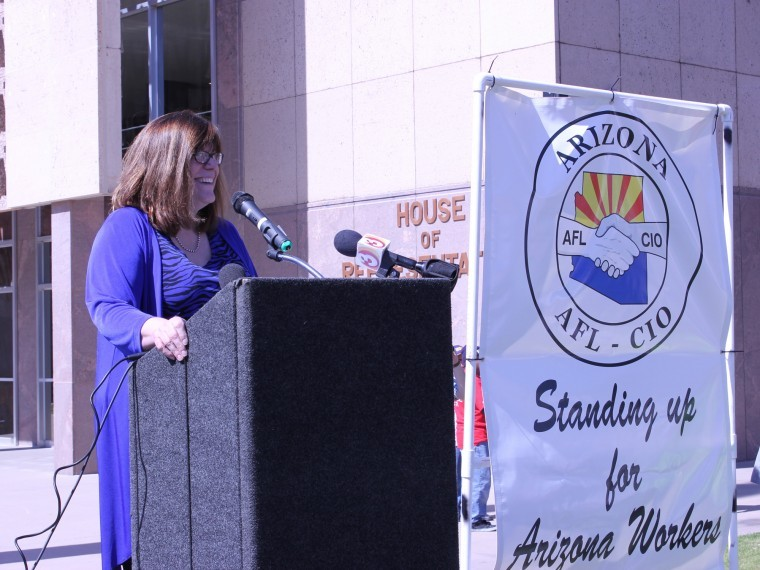 Union Supporters protest bills at Arizona Capitol