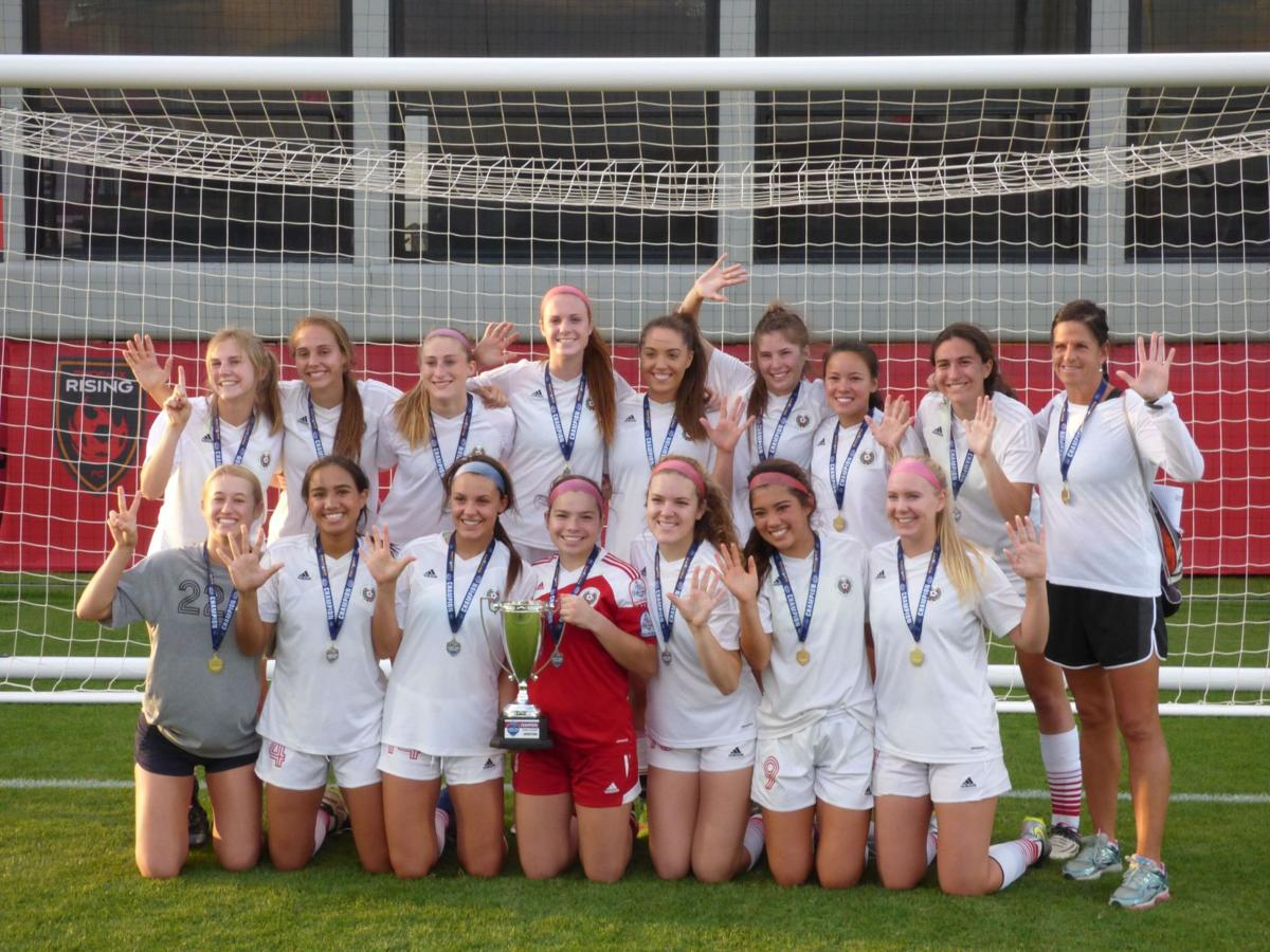 The Ahwatukee Foothills Soccer Club '99 Girls are marking their fifth consecutive state title. They include, from left: top: Abby Robertson, Emma Robson, Marieke Ramsey, Lauren Votto, Paige Maling, Corey Zaremba, Jessica Hale, Maddie McCoskey and Coach Barb Chura; bottom: Sienna Firestone, Nikki Hoey, Lauren Schooler, Kristin Carr, Alison Turk, Izzy Deutsch and Carly Bych.