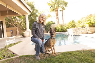 Amy Halm stands at ease with Widowmaker