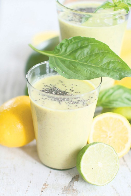 Basil mango lime smoothies