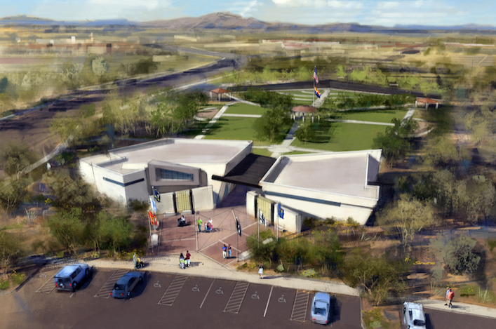 """This rendering shows that the Welcome Home Veterans Park will look like in Gilbert once it is completed. Called """"The Arizona Wall Project,"""" the five-acre park near Gilbert and Warner roads will be built in two phases, with the building constructed in the latter phase. Supporters say have half the $3 million needed for the project and that the rest has been pledged."""
