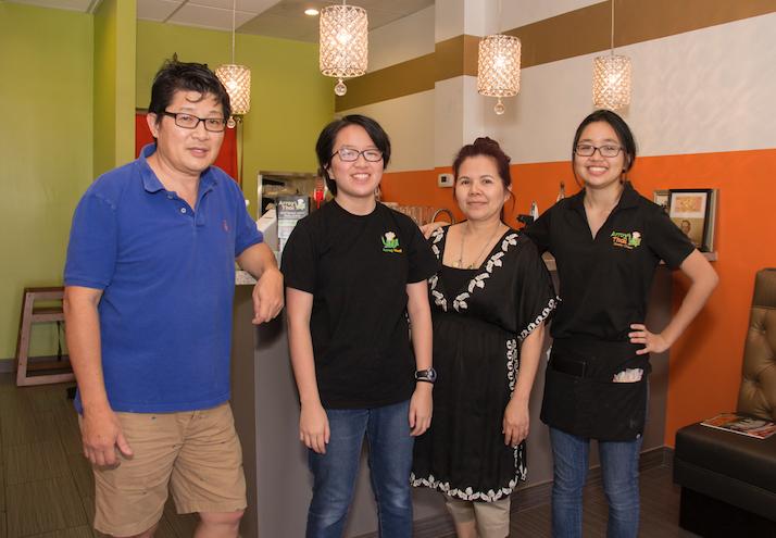 Brandon Tjhang and his family run the Arroy Thai restaurant at Ray Road and 48th Street, Ahwatukee. With him are, from left, daughter Shania Tjhang, wife Montana Kaewlaiko and daughter Alyssa Tjhang.