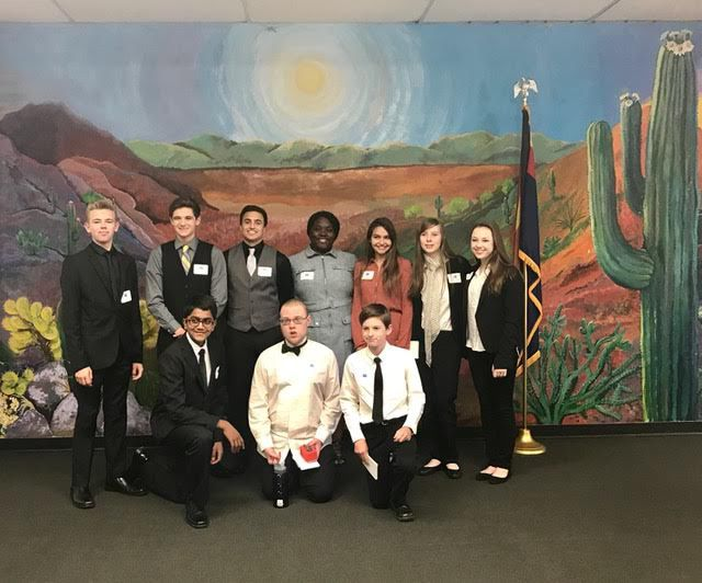 The young CEOs who participated in the Ahwatukee Foothills Chamber of Commerce's Young Entrepreneurs Academy include, from left: bottom row: Pradyoth Velagapudi, Tevel Oakes and Adam Stewart; standing: Morgan Higginbotham, Will Urtuzuastegui, Alec Liapis, Swalynn Sims, Brooke Kirk, Sophie Bruner and Emma Shaurette.