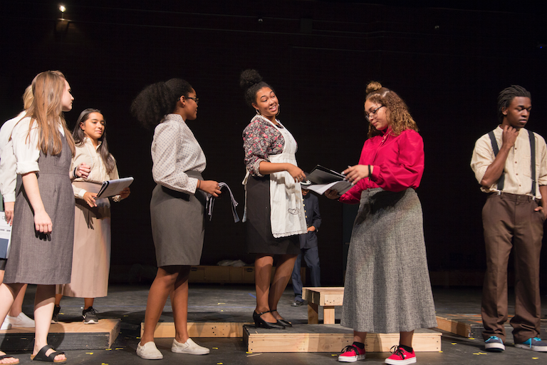 "Mountain Point High School thespians rehearsing for ""The Adding Machine"" include, from left, Allison Konczak, Savannah Mendez, Cassandra Pressume, Janae Jesse, Teressa Chavez and Nemo Wright."