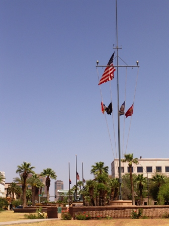 USS Arizona signal mast at Wesley Bolin Plaza
