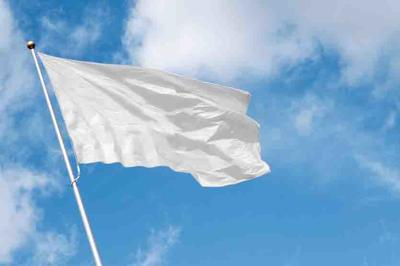 White blank flag waving in the wind