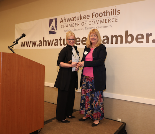 New Ahwatukee Chamber of Commerce board president Laurie McCartney, left, receives the honorary gavel from board president Martha Neese